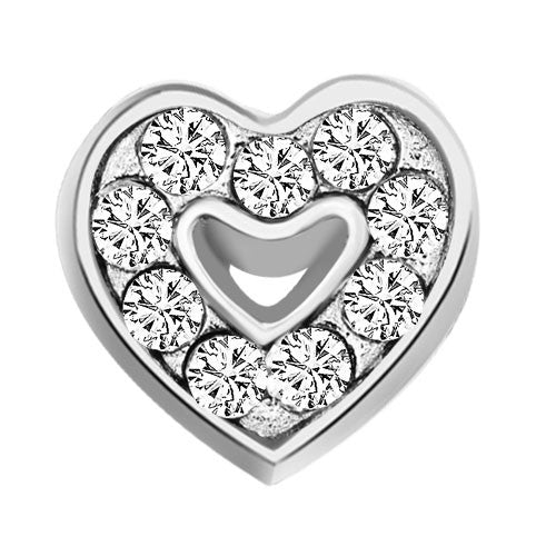 Silver Heart with Crystals Charm