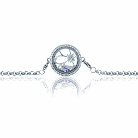 Stainless Steel Circle Rhinestone Floating Locket Bracelet with Choice of 6 Mini Charms and 1 Plate