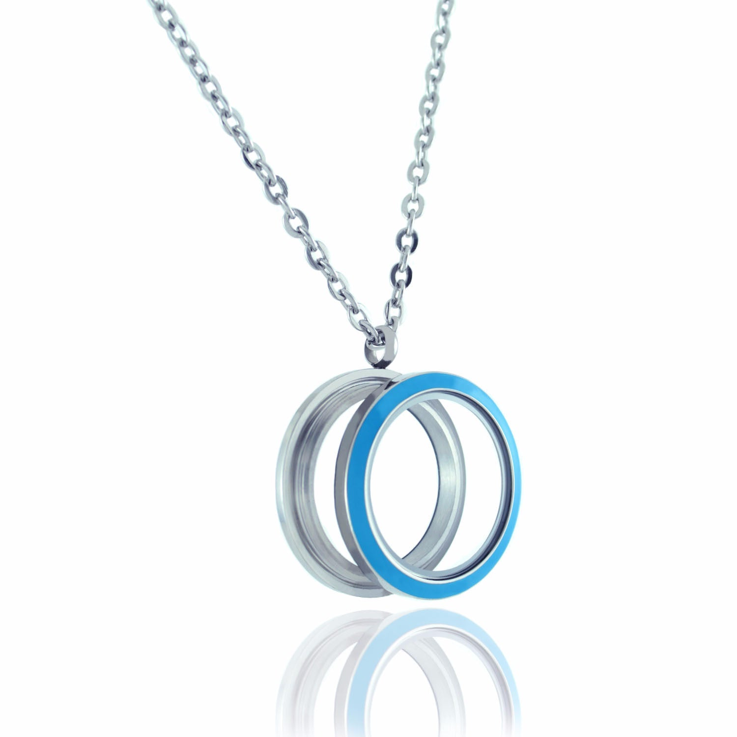 Floating Locket Necklace with Matching Chain and Choice of 6 Charms (Twist Blue Circle)