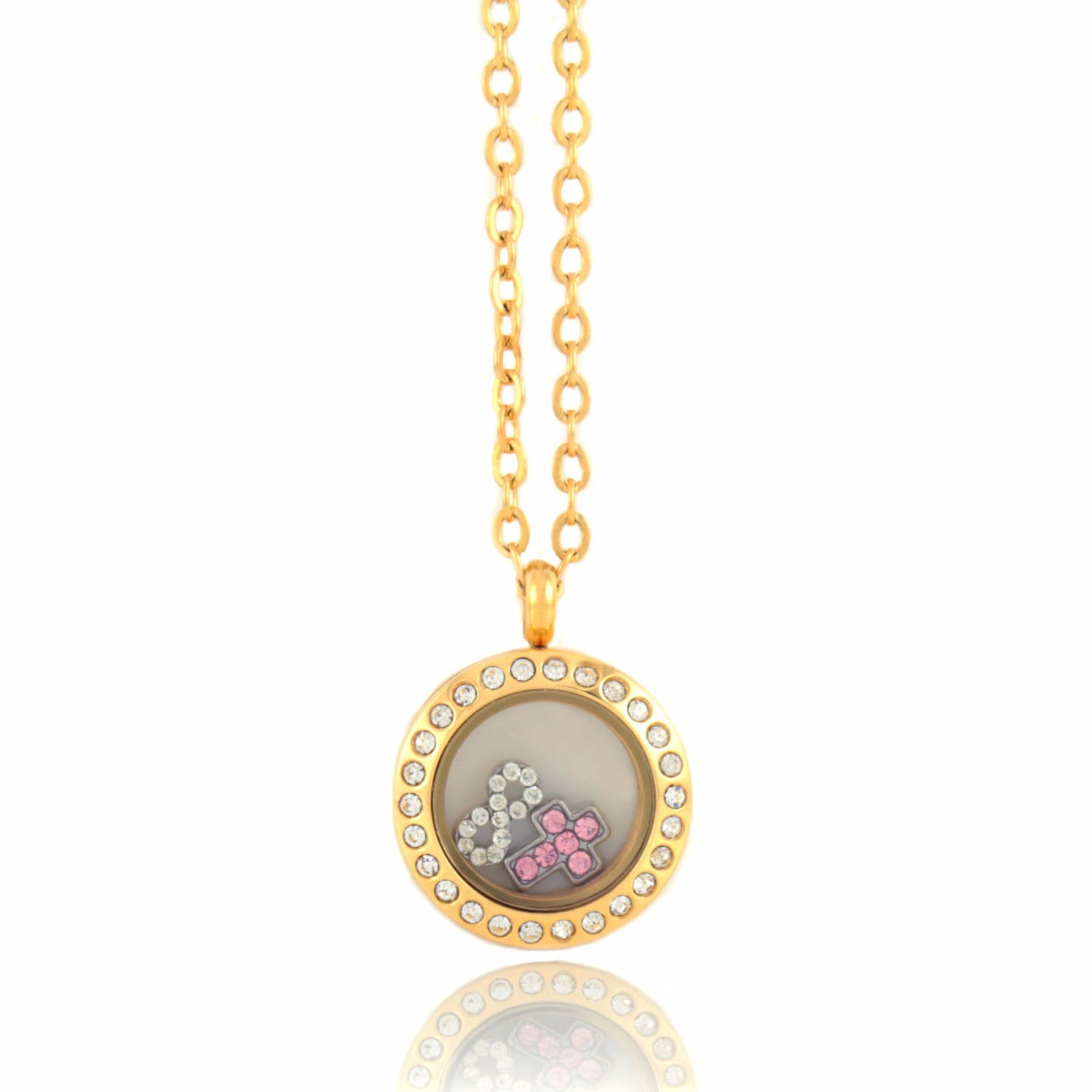 Stainless Steel Floating Locket Necklace with 4 Charms (Mini Gold Rhinestone)