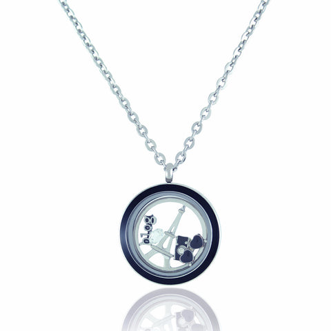 Floating Twist Locket Necklace with 6 Charms and Matching Chain (Twist Black Circle)