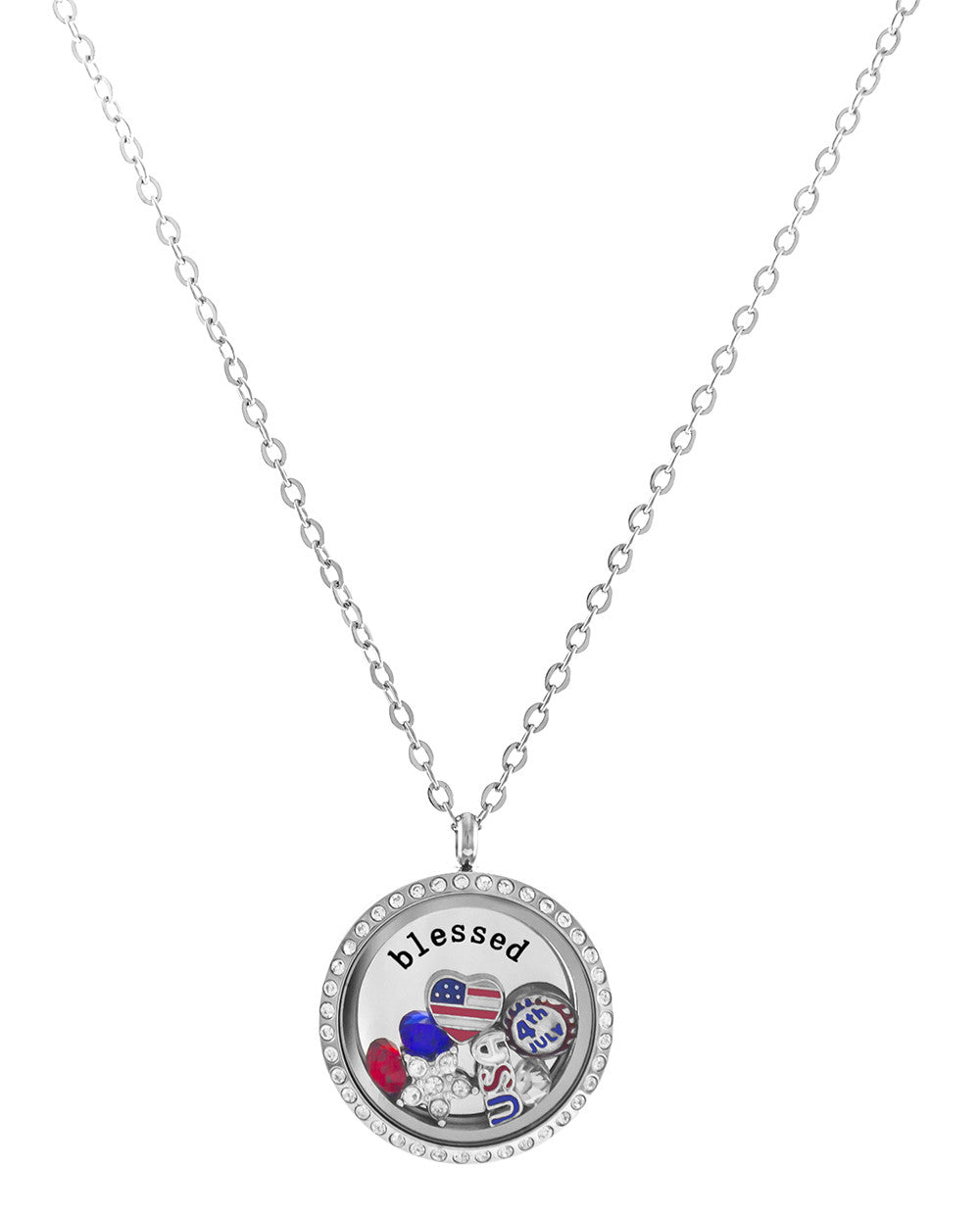 Stainless Steel Floating Charm Locket 4th of July Celebration Necklace by BG247®
