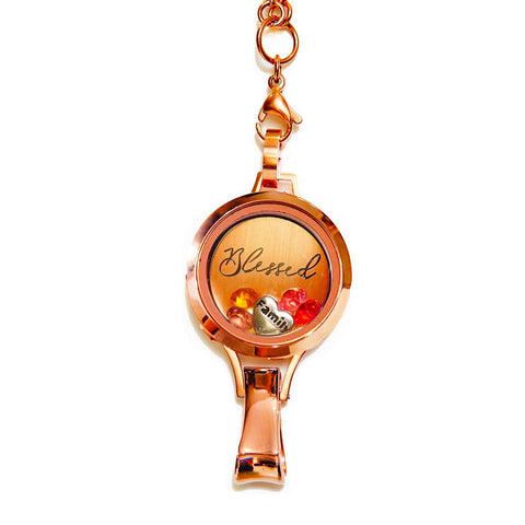 Stainless Steel Floating Locket Lanyard with Badge Holder ( Blessed Preset - Rose Gold No Stone | Stainless Steel - Twist )