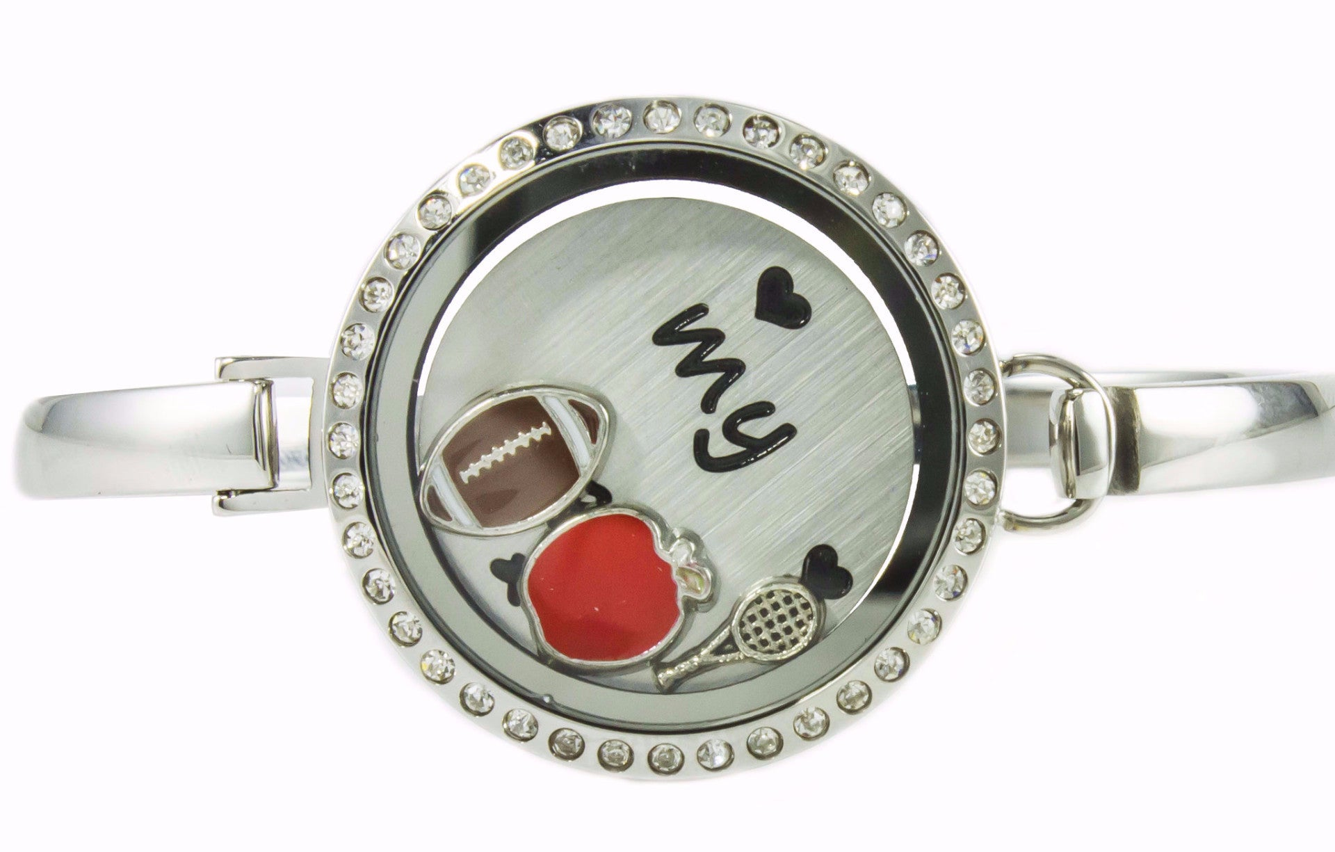 Floating Locket Bangle Bracelet with Choice of 6 Charms and 1 Plate (Silver Rhinestone Circle)