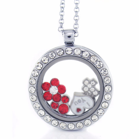 Floating Locket Necklace with 6 Mini Charms and Matching Chain (Silver Rhinestone Circle)