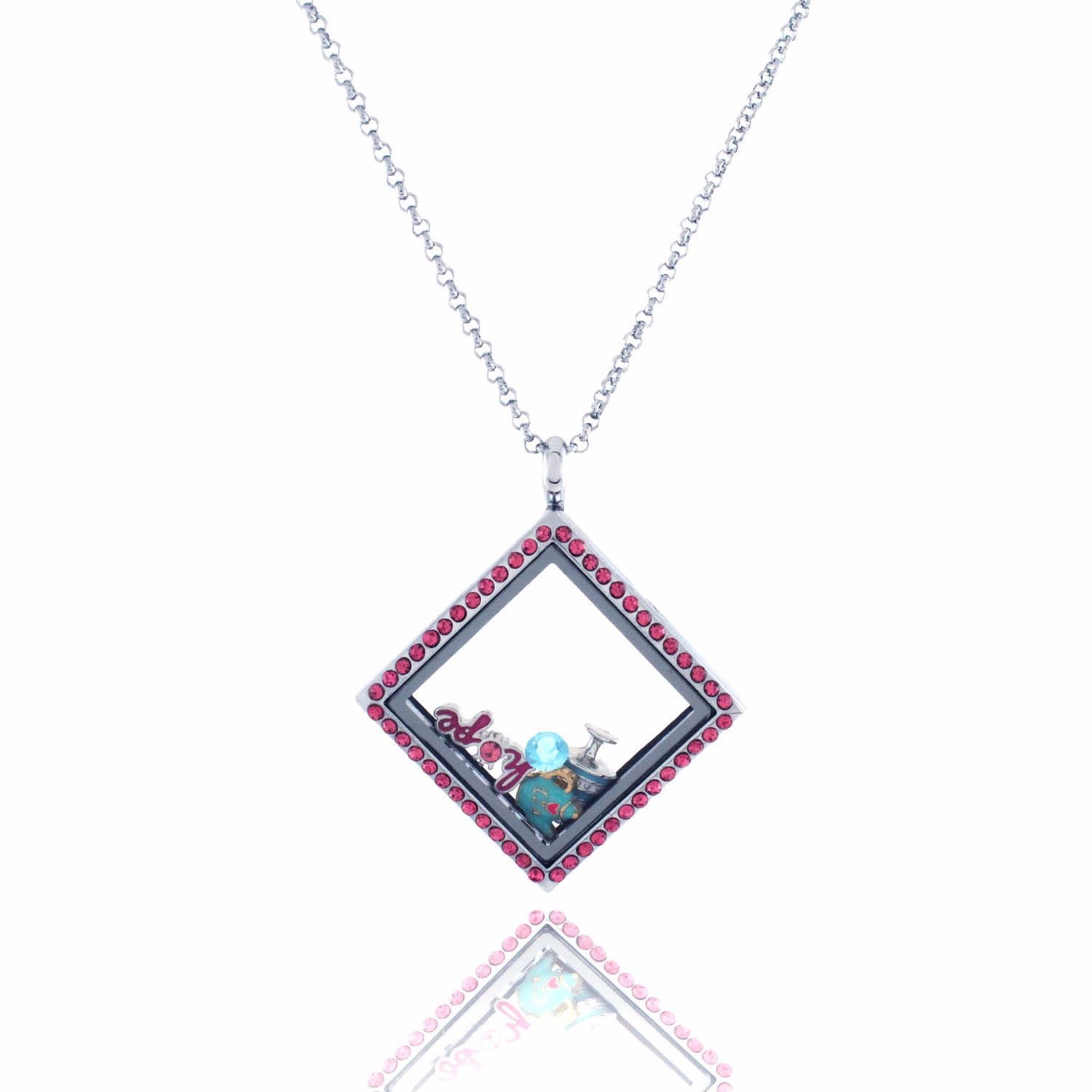 Floating Locket Necklace with Choice of 6 Charms and Matching Chain (Pink Rhinestone Diamond)