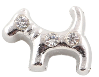 Silver Dog With Crystal Charm