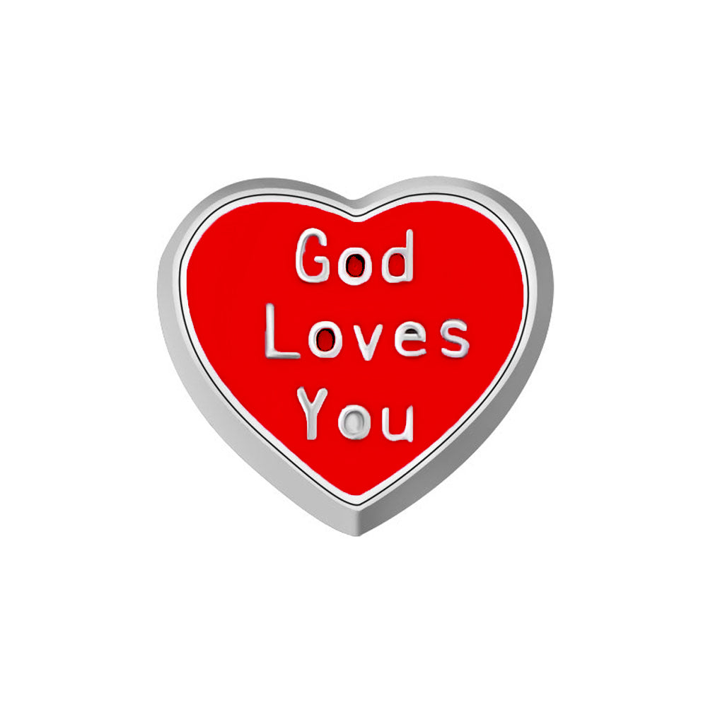 Red God Loves You Heart Charm