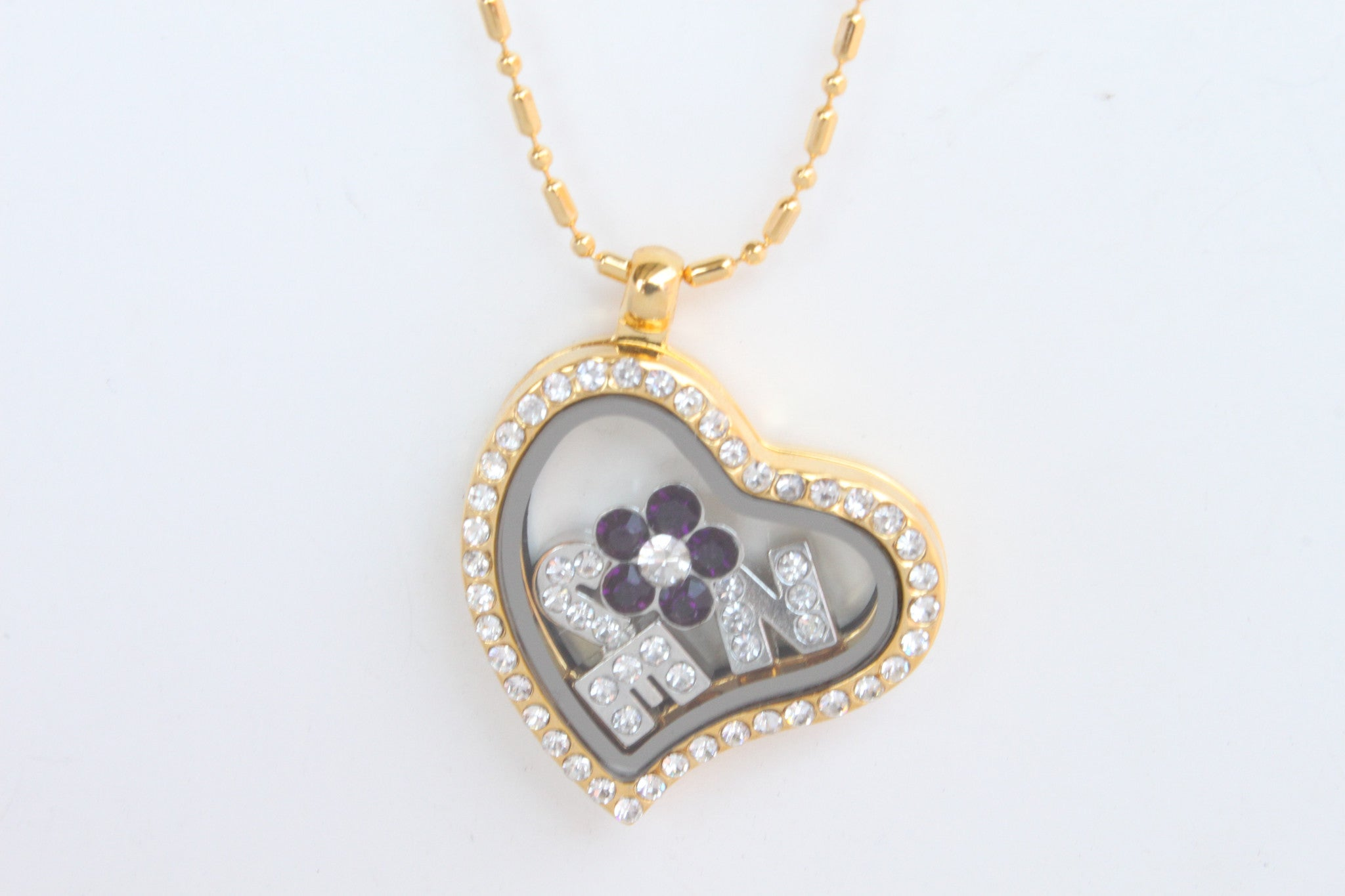 Floating Locket Necklace with Matching Chain and Choice of 6 Charms (Gold Heart)