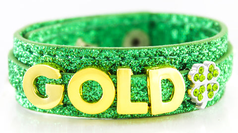 St. Patrick's Day Custom  Glitter Bracelet with Gold Charms