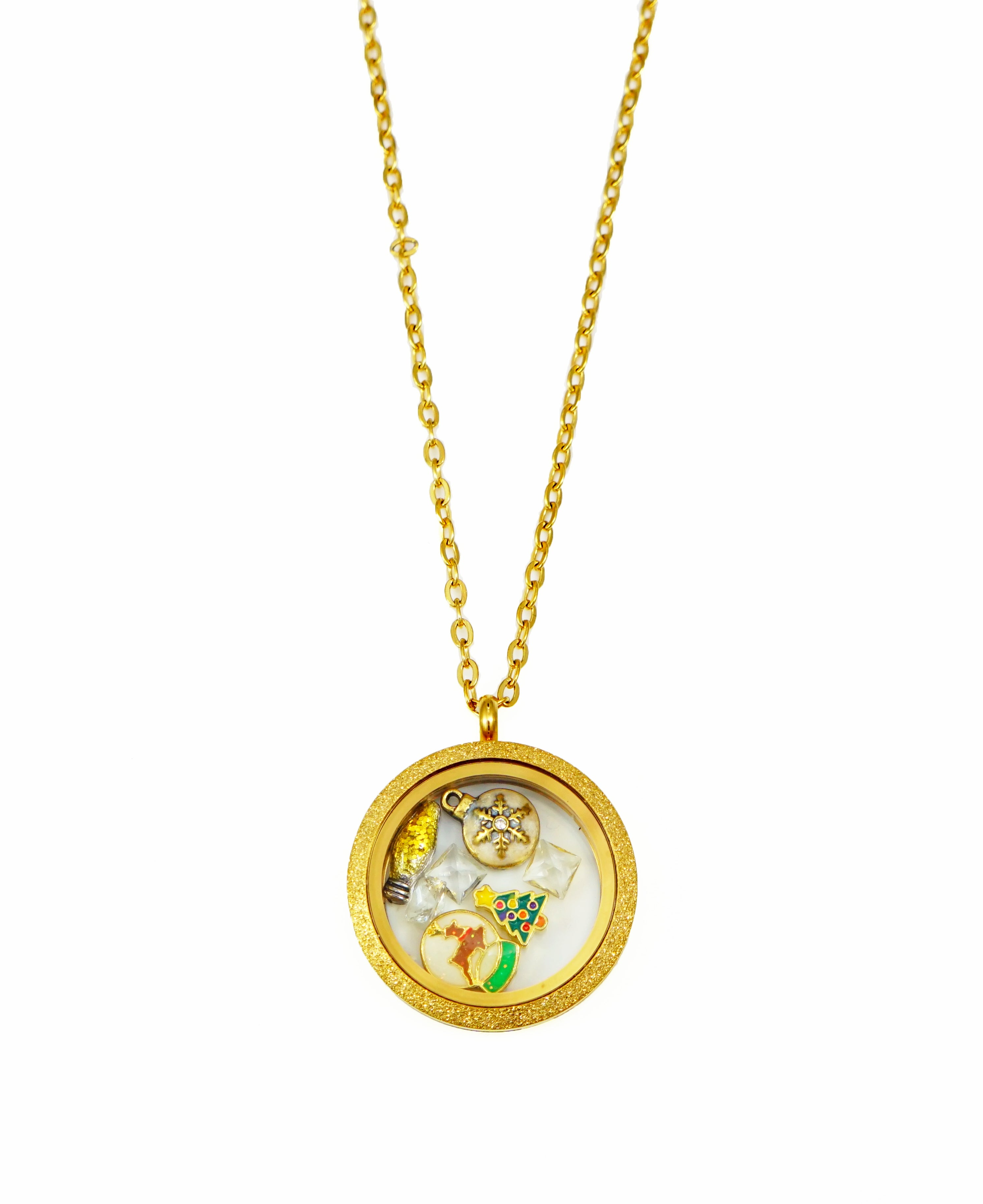 STAINLESS STEEL FLOATING LOCKET NECKLACE WITH 6 CHARMS AND 1 PLATE (GLITTER)