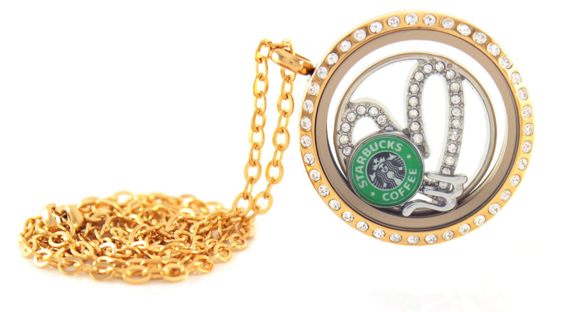 Stainless Steel Floating Locket Necklace with Choice of 6 Charms and 1 Plate (Gold Rhinestone)
