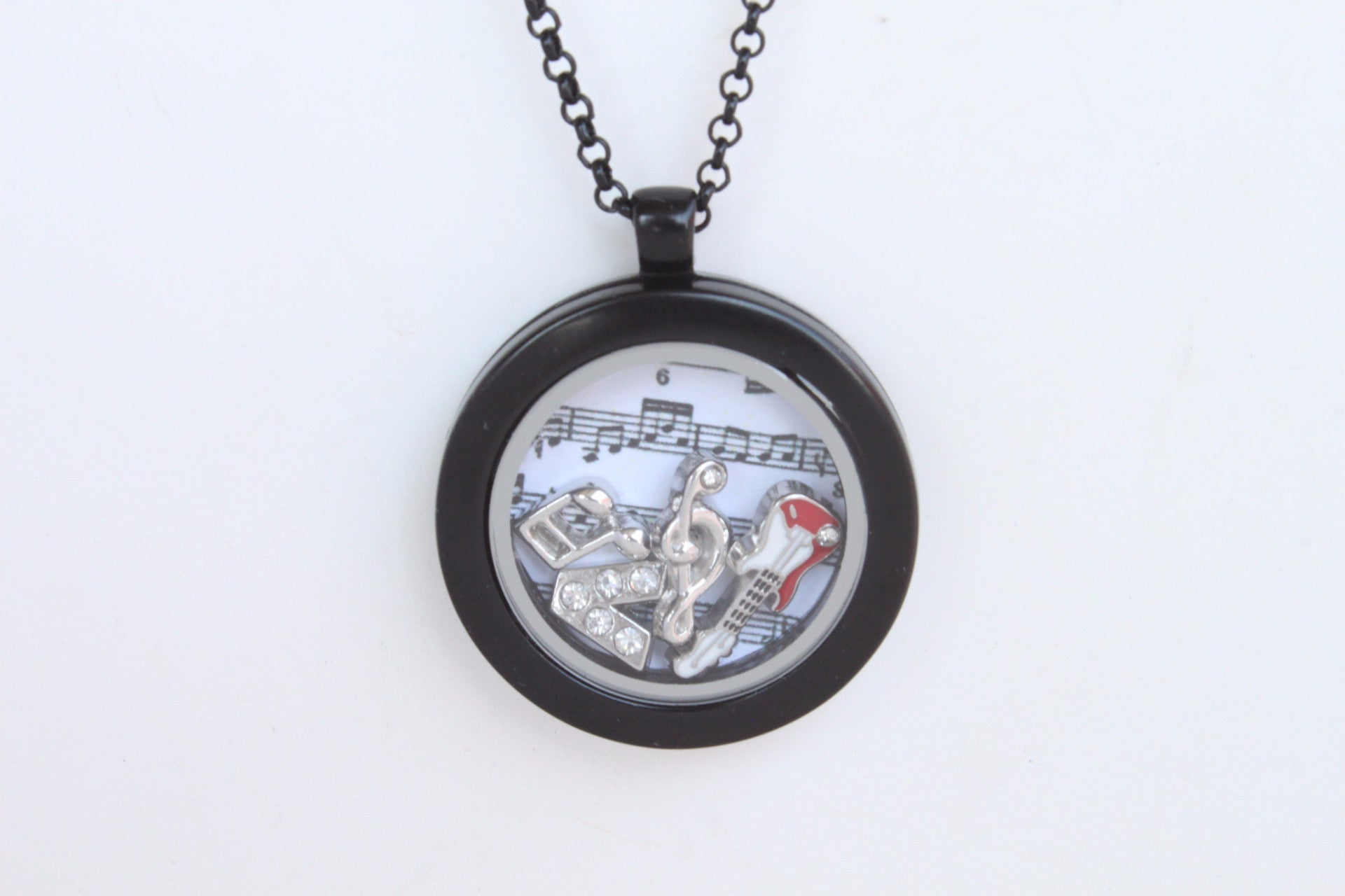 Floating Locket Necklace with Matching Chain and Choice of 6 Charms (Gunmetal No Stone)