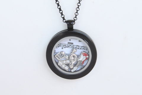 Floating Locket Necklace With 6 Mini Charms & Matching Chain (Gunmetal No Stone Circle)