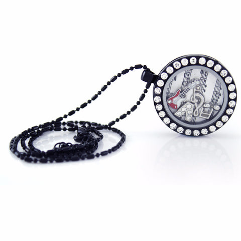 Floating Locket Necklace With 6 Mini Charms & Matching Chain (Gunmetal Circle W/ Stone)