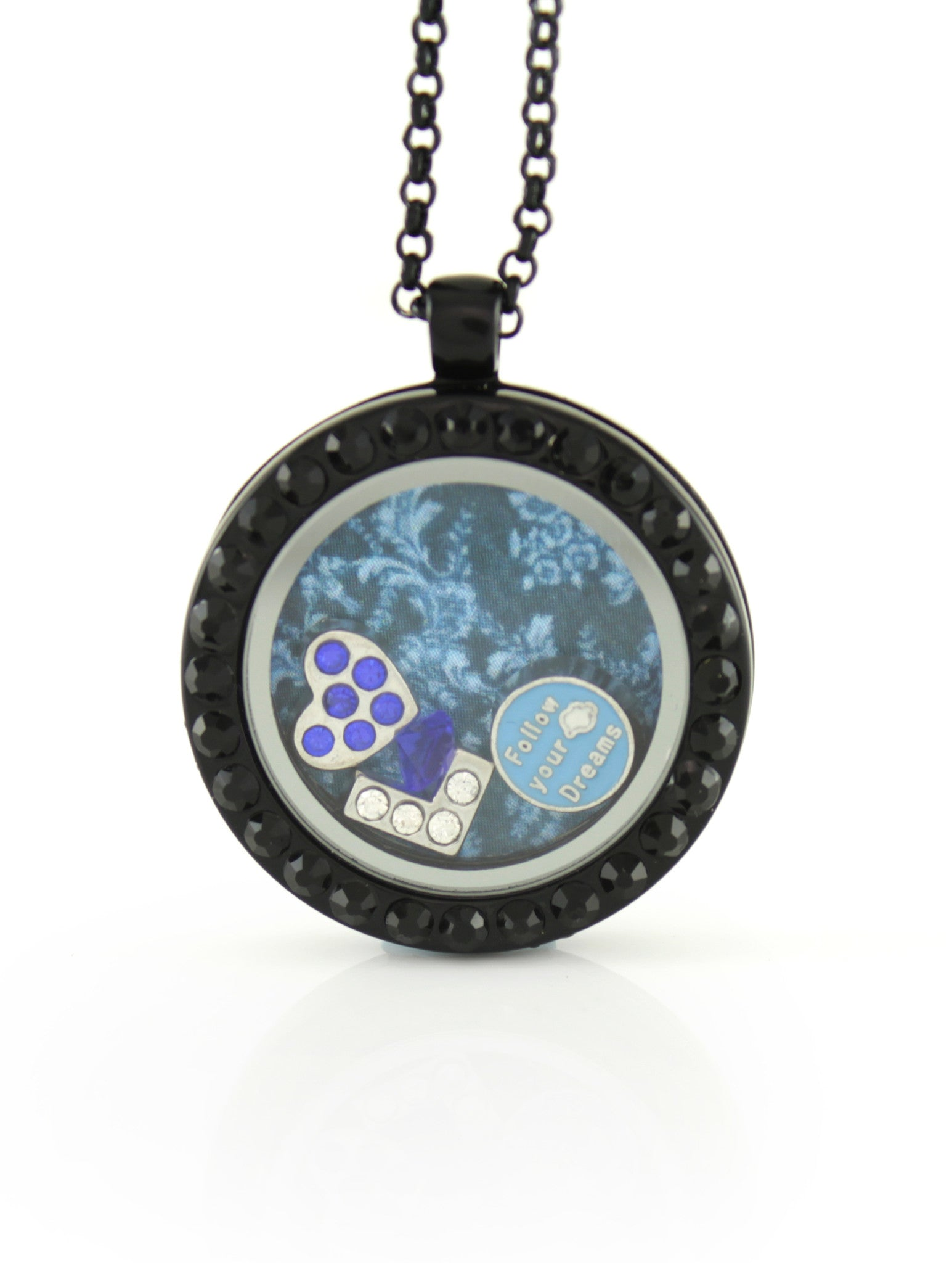 Floating Locket Necklace with 6 Mini Charms & Matching Chain (Gunmetal with Black Stone)