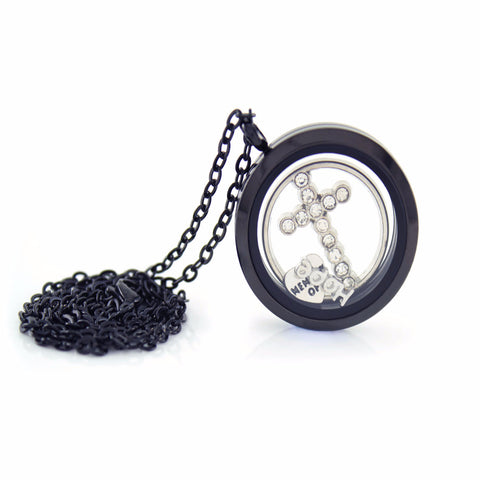Stainless Steel Floating Locket Necklace with Choice of 6 Charms and 1 Plate (Gunmetal No Stone)