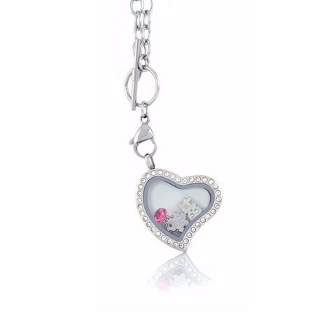 Floating Heart Locket with Choice of 6 Charms and Matching Toggle Chain (Silver Toggle Heart)