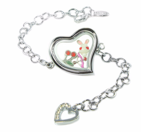 Silver Heart Floating Locket Bracelet with Dangling Heart and Choice of 6 Charms