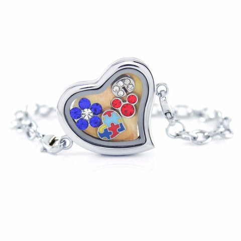 Silver Floating Locket Bracelet With 6 Mini Charms Of Choices