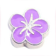 Purple Hibiscus Flower Charm
