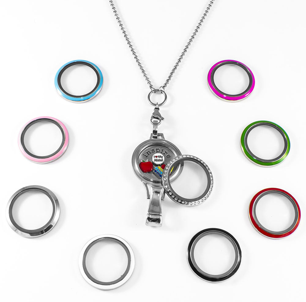 Interchangeable Floating Locket Lanyard Badge Holder With 6 Free Charms By BG247®