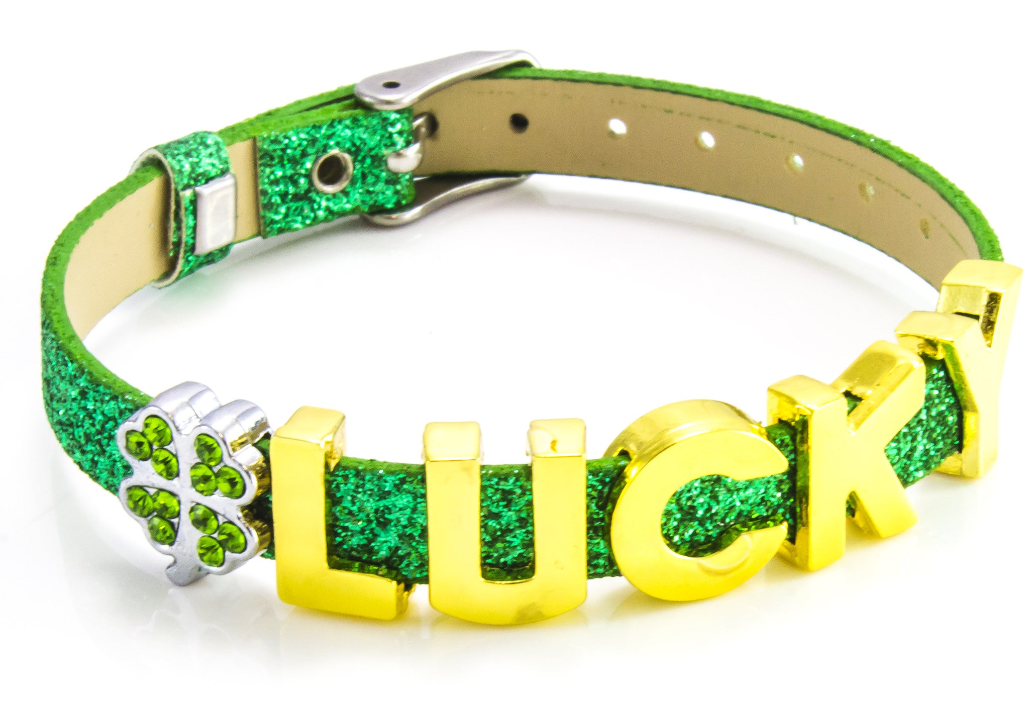 St Patrick's Day (Lucky) Green Glitter Bracelet with Gold Sliding Letter Charms