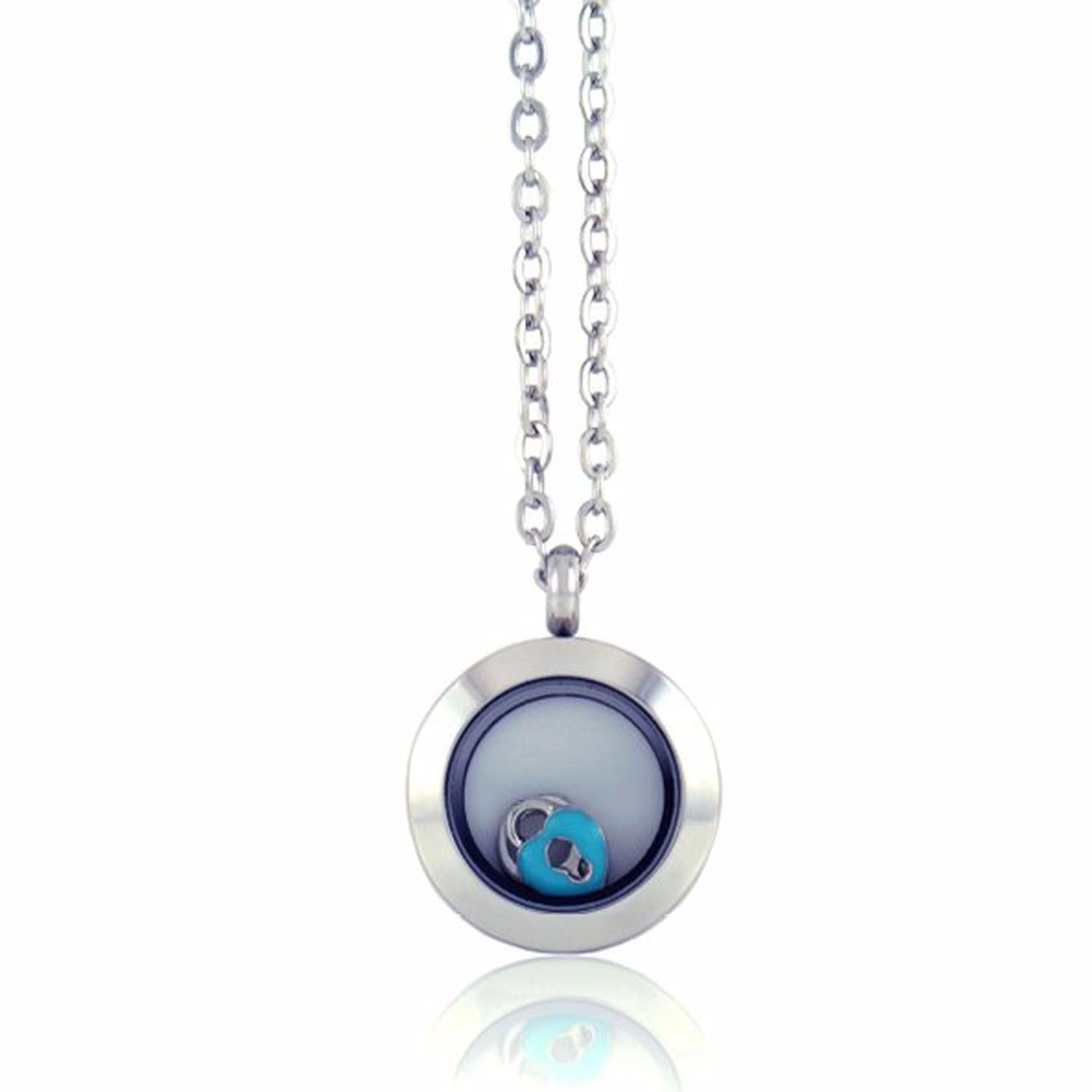 Stainless Steel Floating Locket Necklace with 4 Charms (Medium Silver No Stone)