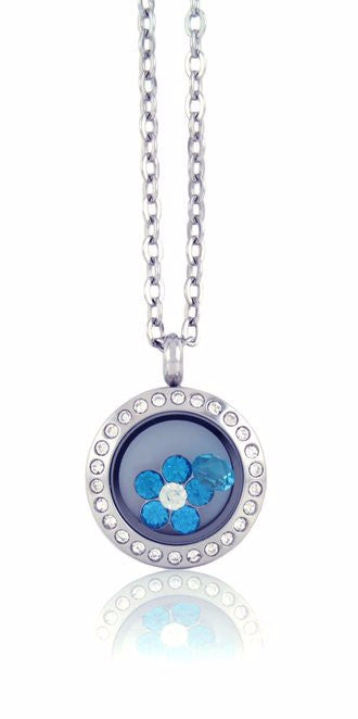 Stainless Steel Mini Floating Locket Necklace with Choice of 4 Charms (Mini Silver Rhinestone)