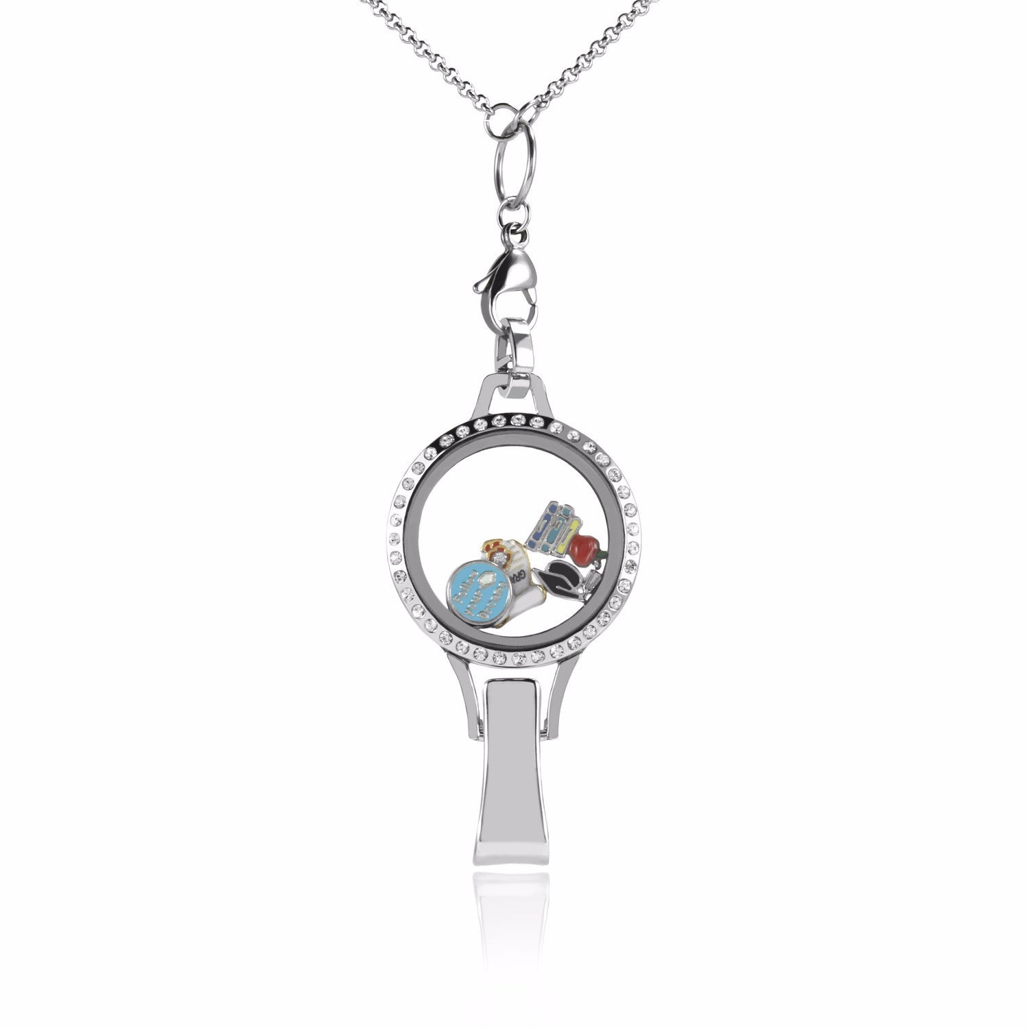 Floating Locket Lanyard with Badge Holder with Chain and 6 Charms and 1 Plate (Rhinestone)