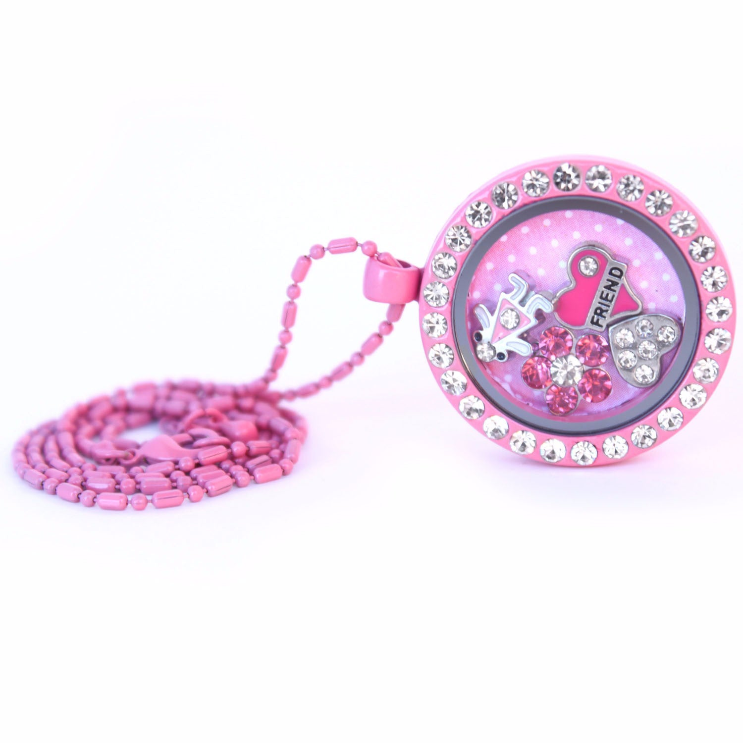 Floating Locket Necklace with Matching Chain and Choice of 6 Charms (Pink Circle)