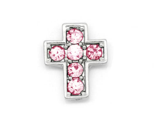 Pink Crystal Silver Cross Charm