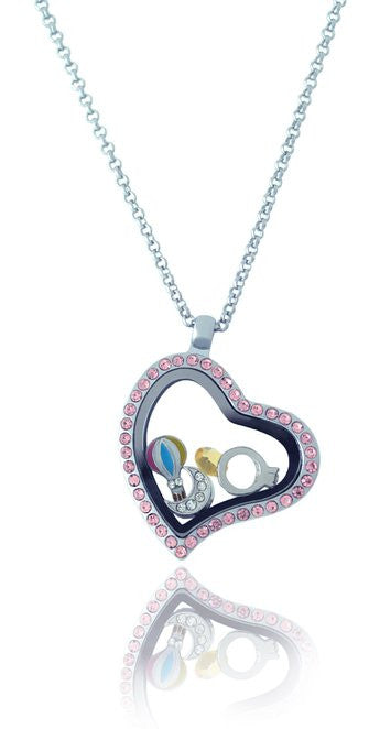 Floating Locket Necklace with Matching Chain and Choice of 6 Charms (Pink Rhinestone Heart)