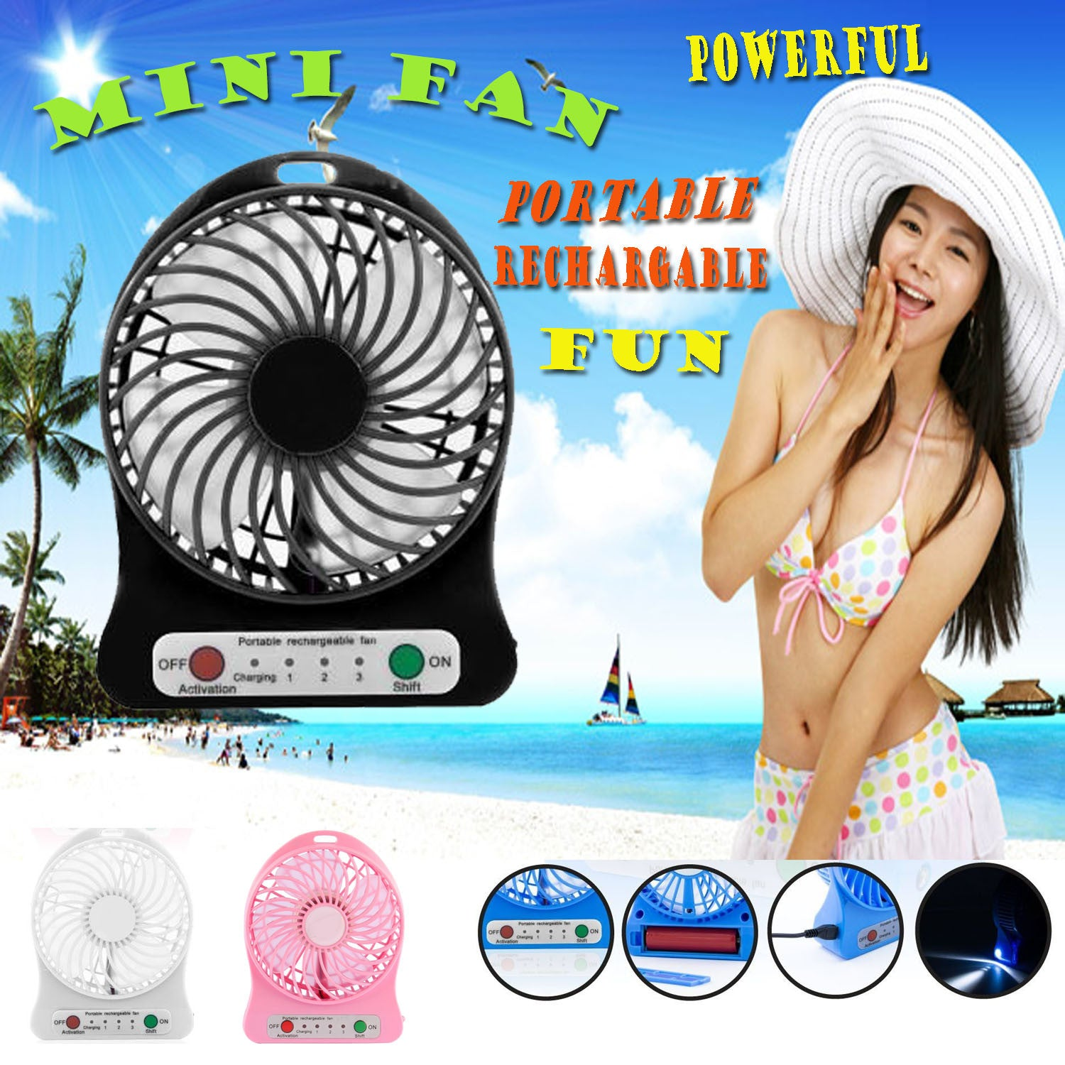 Portable Mini USB Rechargeable Fan