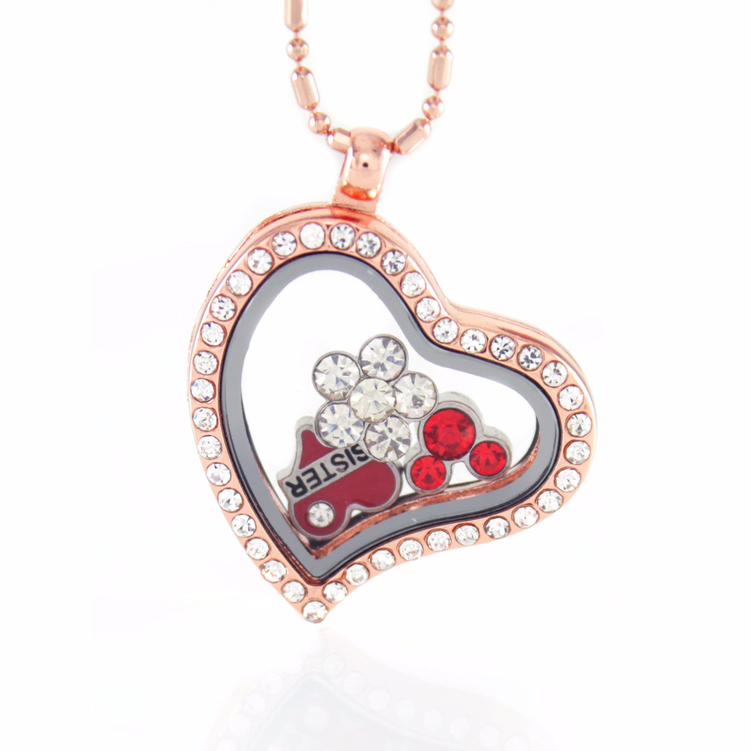 Floating Locket Necklace with 6 Mini Charms and Matching Chain (Rose Gold Heart)