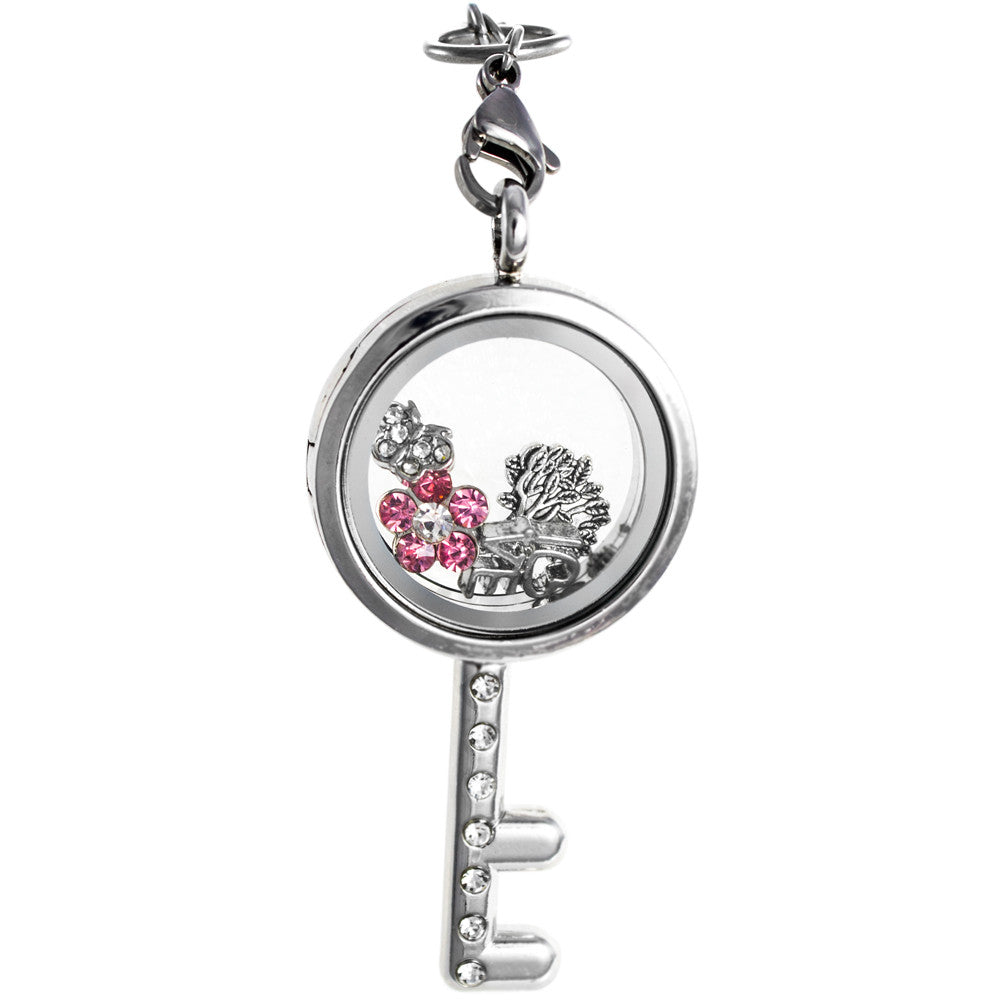 Floating Key Locket with Choice of 6 Charms with Matching Chain