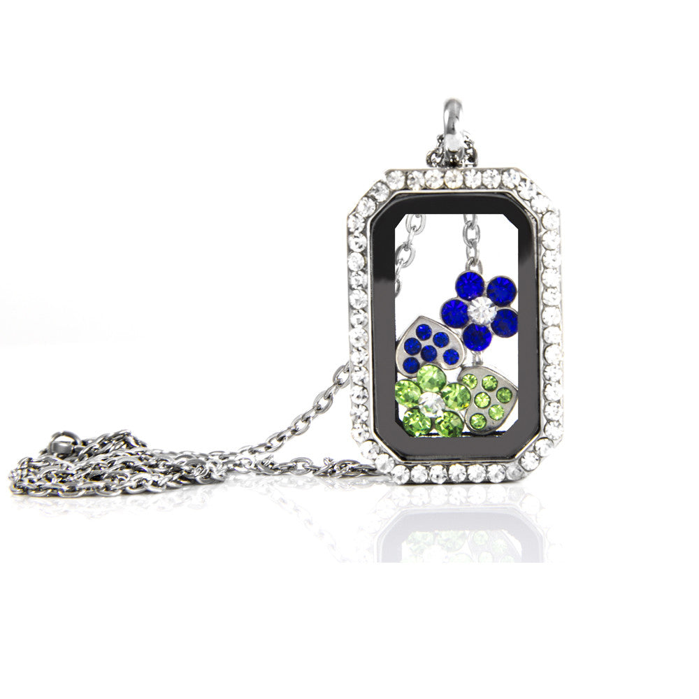 Floating Rectangle Rhinestone Locket with Choice of 6 Charms