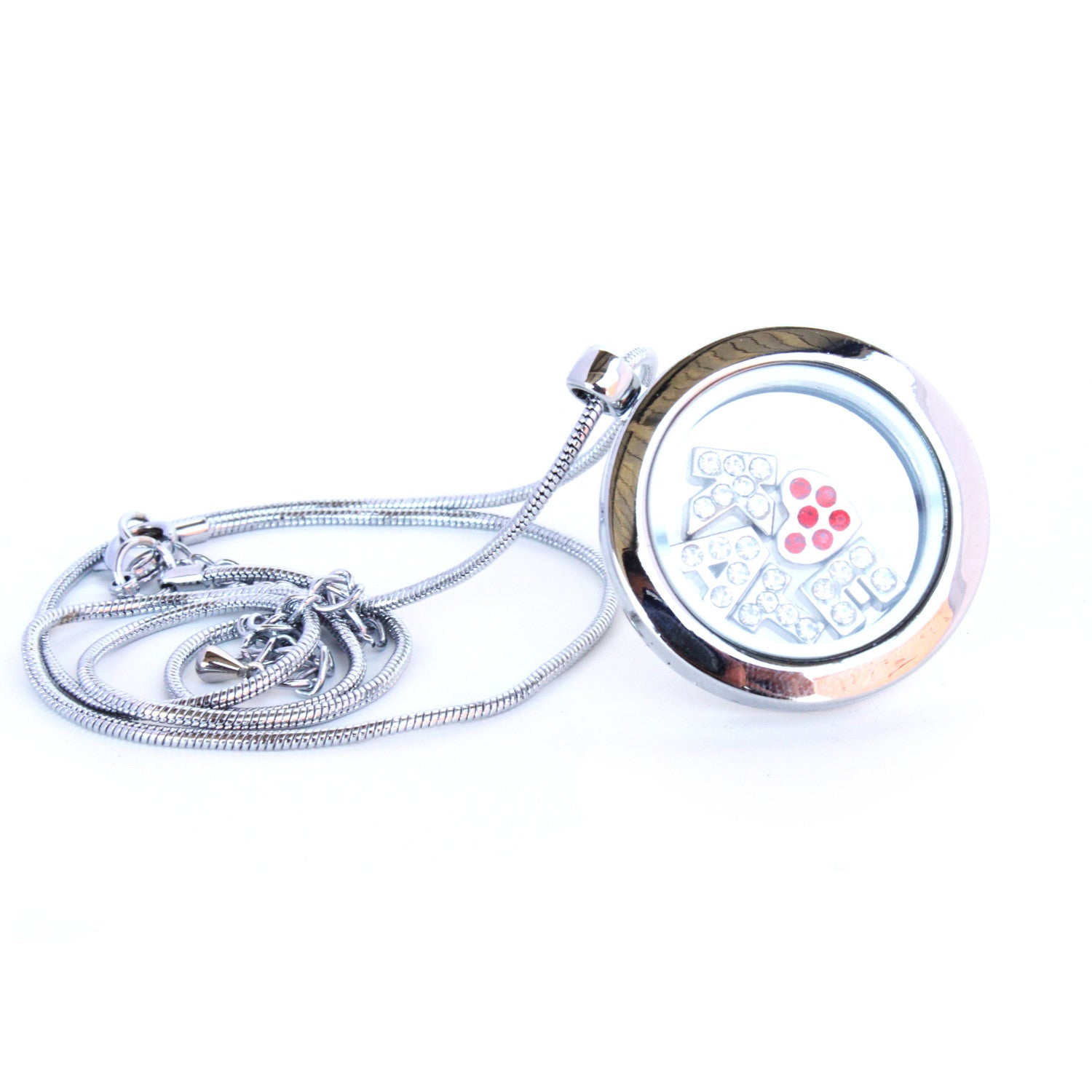 Floating Locket Necklace with 6 Mini Charms and Matching Chain (Silver No Stone Circle)