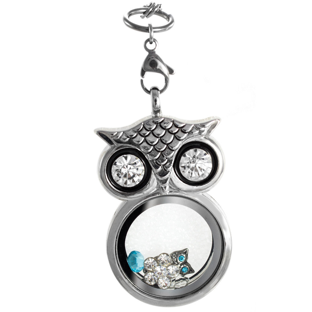 Floating Owl Locket with 6 Charms of your choice
