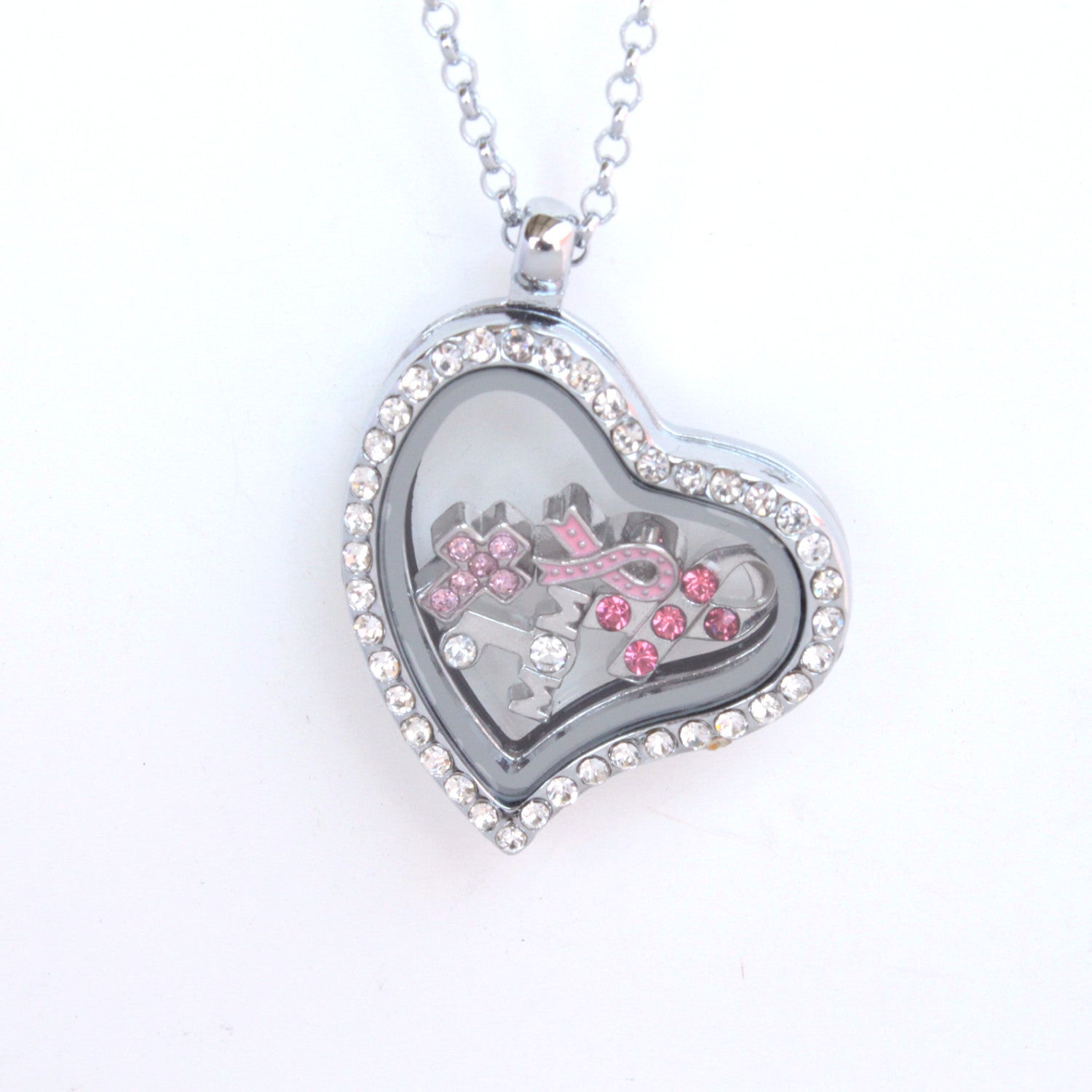 Floating Locket Necklace with 6 Mini Charms and Matching Chain (Silver Rhinestone Heart)