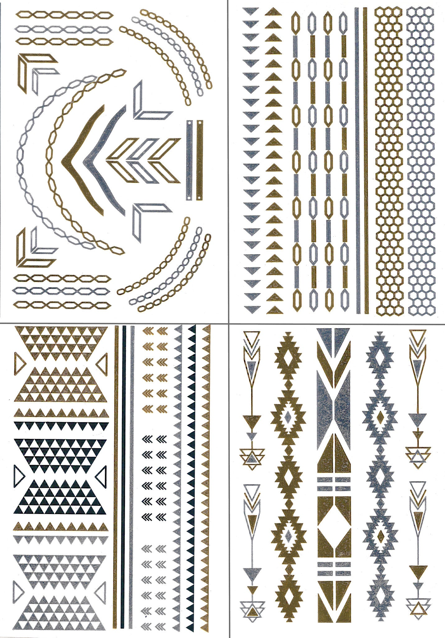 Temporary Metallic Tattoos Pack (Set of 4 Sheets) by BG247