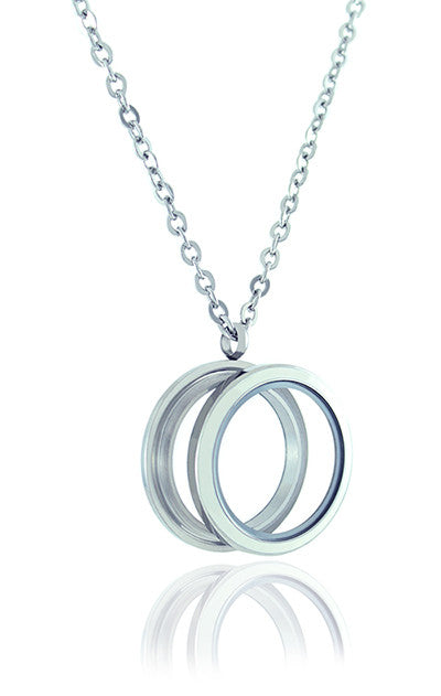 Floating Locket Necklace with Matching Chain and Choice of 6 Charms (Twist White Circle)