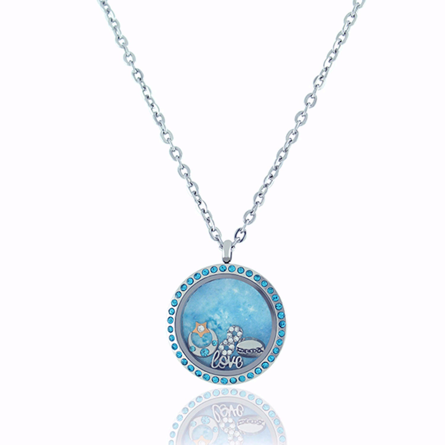 Floating Locket Necklace with Matching Chain and Choice of 6 Charms (Twist Blue Rhinestone)