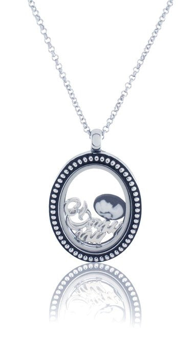 Floating Locket Necklace with Matching Chain and Choice of 6 Charms (Vintage Oval)