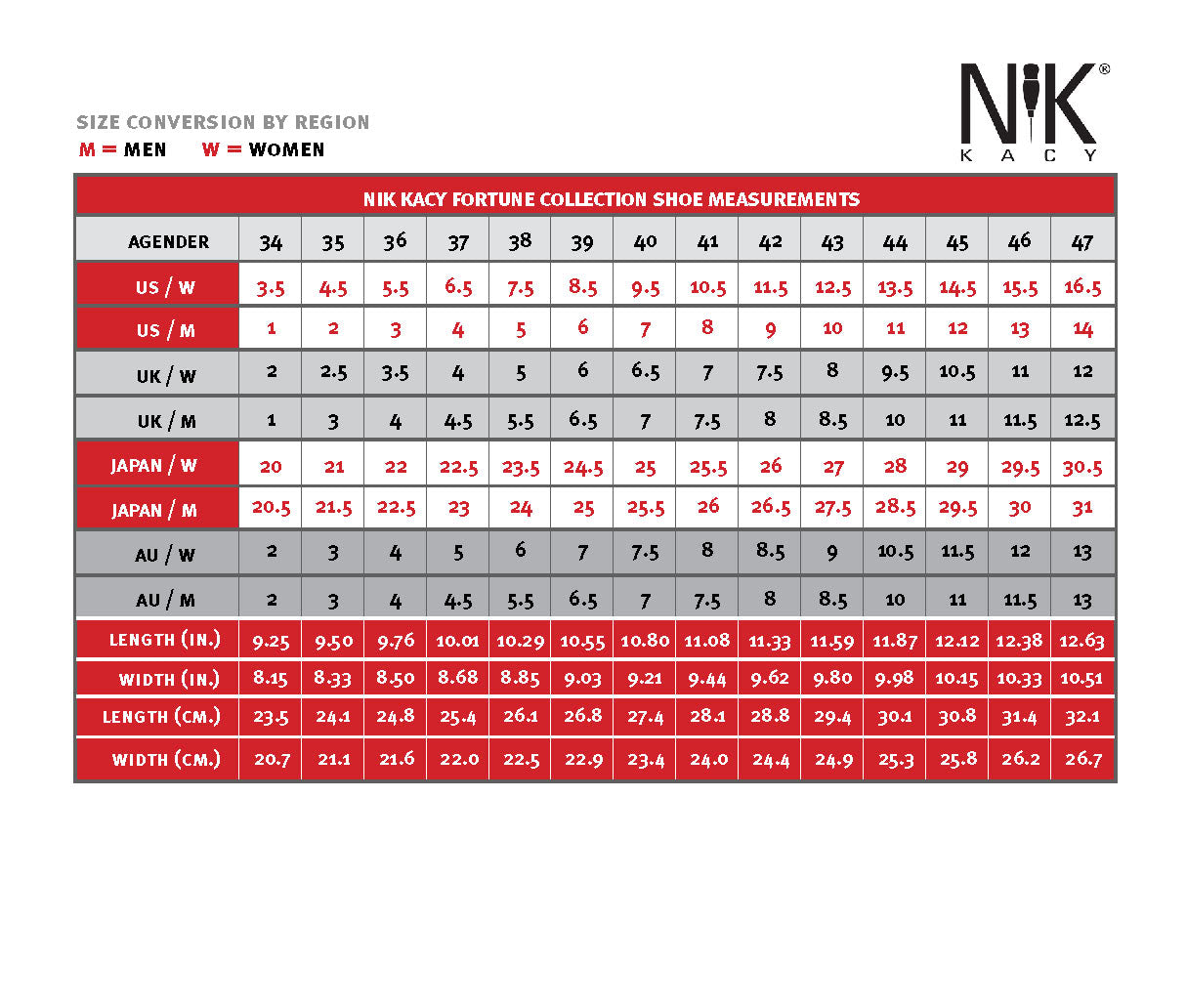 NiK Kacy Footwear Size Conversion