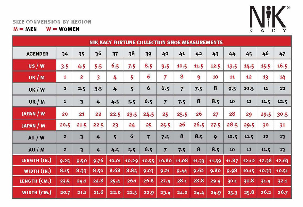 Nik Kacy Online Fitting Shoe Size Conversion Chart Care All Genders