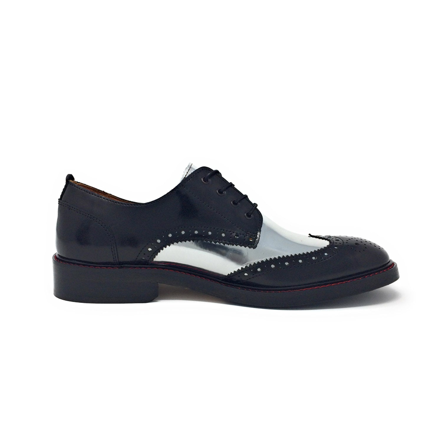 NiK Kacy Luxury, Handcrafted Black and Silver Wingtip Shoes Limited-Edition