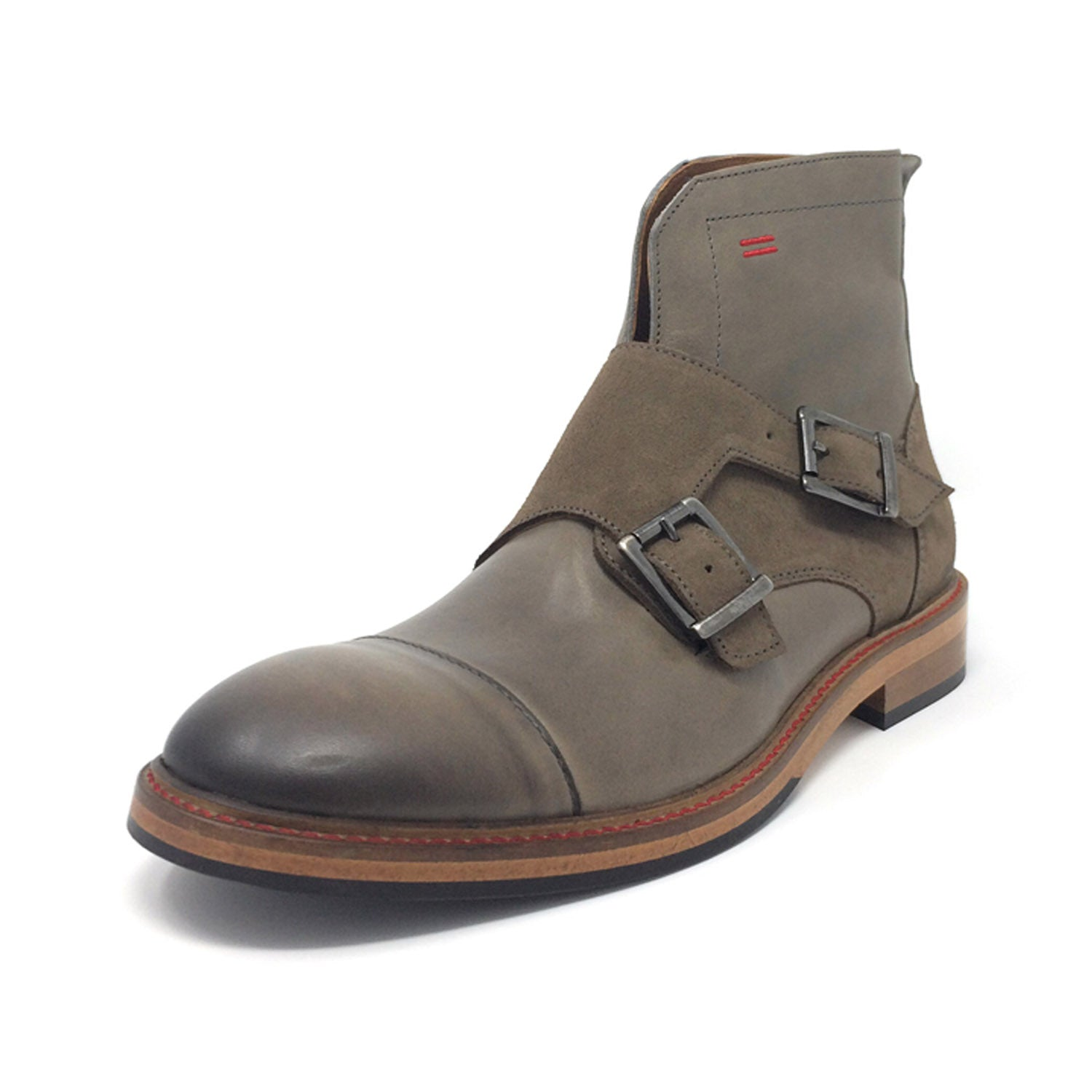 NiK Kacy Gender-Equal Gender-Neutral Luxury Monkstrap Boots in Beige and Grey Genuine Leather