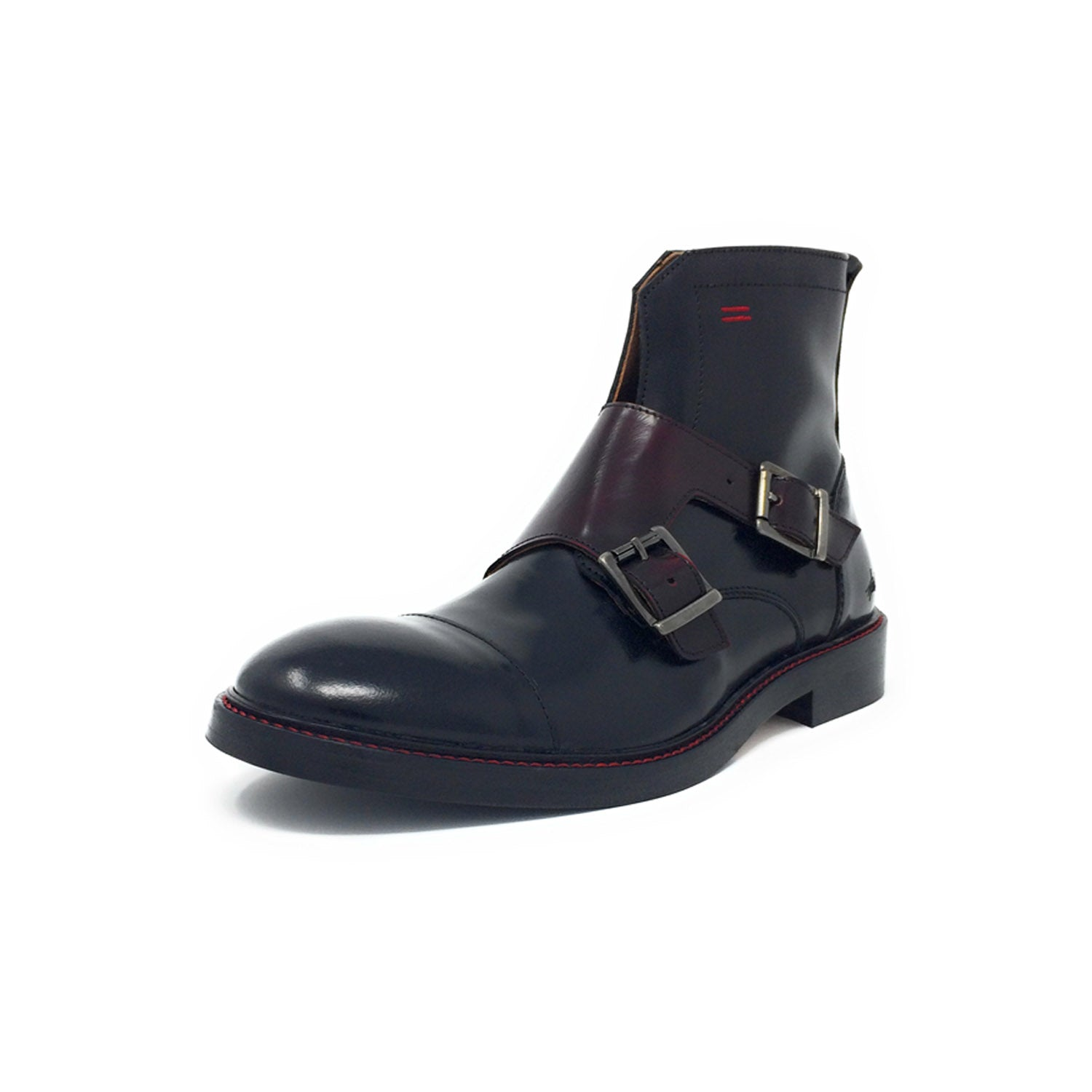 NiK Kacy Gender-Equal Gender-Neutral Luxury Monkstrap Boots in Deep Red and Black Genuine Leather