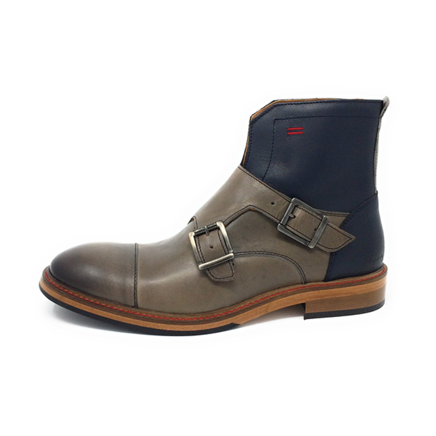 NiK Kacy Gender-Equal Gender-Neutral Luxury Monk Boots in Reverse Navy Blue and Grey Genuine Leather
